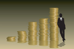 Coins graph businessman. A stack of coins arranged into a graph with a businessman leaning against them Royalty Free Stock Image