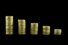 Coins graph chart Royalty Free Stock Photography