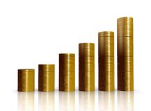 Coins graph over white Stock Image