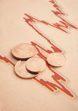 Coins on graph paper Stock Photography