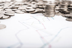 Coins and graph. Stack of coins and graph background Royalty Free Stock Photo