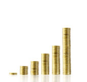Coins graph stock market Stock Image