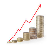 Coins graph stock market Stock Photo