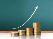 Coins graph stock market. Investment concept, Coins graph stock market Stock Photo