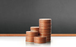 Coins graph stock market Royalty Free Stock Image