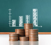 Coins graph stock market. Investment concept, Coins graph stock market Stock Photography