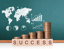 Coins graph stock market. Investment concept, Coins graph stock market Royalty Free Stock Photos