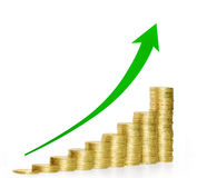 Coins graph stock Royalty Free Stock Image