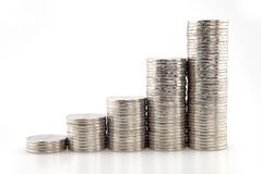 Coins graph. On white background Royalty Free Stock Images