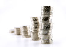 Coins graph. On white background Stock Image