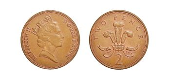 Coins of Great Britain 2 pence Royalty Free Stock Photo