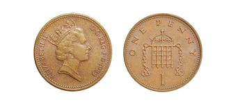 Coins of Great Britain 1 penny Royalty Free Stock Photos