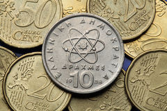 Coins of Greece. Atom, electron and neutron depicted in the old Greek 10 drachma coin Stock Photo