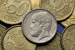 Coins of Greece. Greek philosopher Aristotle depicted in the old Greek five drachma coin