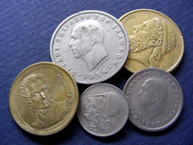 coins grekiska huvud Arkivbild