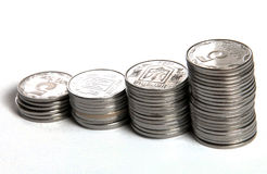 Coins growing concept. Coins concept, danger for growing money Royalty Free Stock Photos