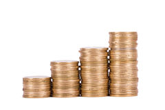 Coins in  Growth Chart Stock Photography