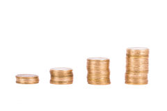 Coins in  Growth Chart Royalty Free Stock Photo