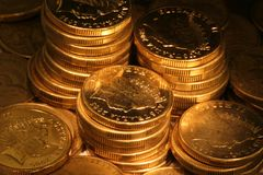 coins guld- Royaltyfria Foton