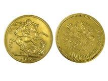 coins guld- Fotografering för Bildbyråer