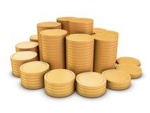 coins guld- spiral trappa Arkivbilder