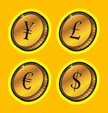 coins guld- valuta Arkivfoto