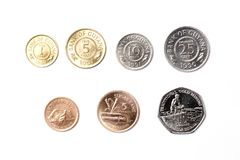 Coins from Guyana. On a white background Royalty Free Stock Photography