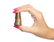 Coins in hand Stock Photography