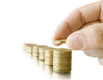 Coins in the hand Royalty Free Stock Image