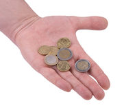 Coins on the hand. Hand with coins on white background Royalty Free Stock Photo