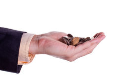 Coins in hand 2 Stock Photos