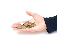 Coins in hand. On white background royalty free stock photo
