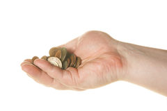 Coins in hand Royalty Free Stock Images