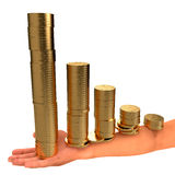 Coins in hand. Business concept. Abstract 3d illustration Royalty Free Stock Image