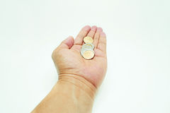 Coins in hand royalty free stock photos