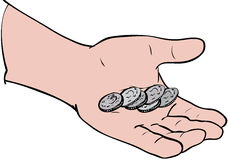 Coins in hand. Coins in palm of hand Stock Illustration