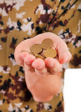 Coins in the Hand Stock Photo