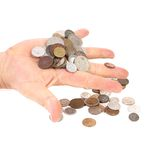 Coins in hande. On white backgrounde Royalty Free Stock Image