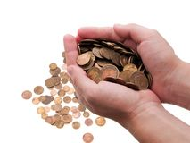 Coins in hands Royalty Free Stock Photography