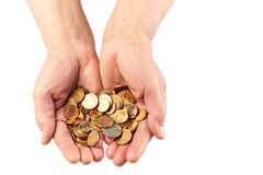 Coins in Hands Stock Images