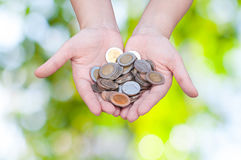 Coins in hands on green nature background. Donation Investment Fund Financial Support Charity  Dividend Market Growth Stock Images