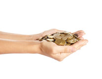 Coins in the hands Stock Photo