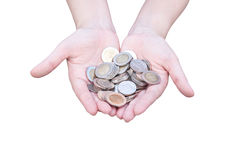 Coins in hands Isolated on white. Donation Investment Fund Financial Support Charity  Dividend Market Growth Home House Stock Trust Wealthy Giving Planned Stock Photo