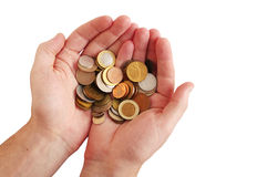 Coins in hands of the person on a white background Stock Image