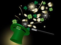 Coins in hat. Golden coins and clovers in green hat Stock Images