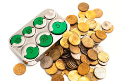 Coins holder and small change Stock Images