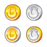 Coins with horseshoe Royalty Free Stock Photo