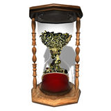 Coins hourglass  time is money Stock Photo