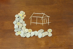 Coins and house from Toothpick. Coins and picture house from Toothpick Stock Photos