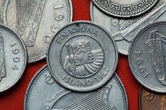 Coins of Iceland. Mountain giant landvaettir Stock Photos